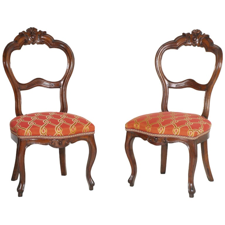 Italian Baroque Louis Philippe Side Chairs Or Slipper In Walnut Red For