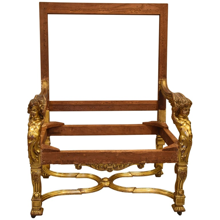 Italian Baroque Louis Xiv Style Gold Leaf Oversized Chair For