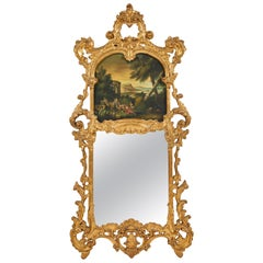 Italian Baroque Mirror Style Carved Giltwood Trumeau Mirror