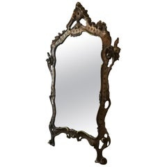 Italian Baroque Mirror with Wooden Frame, 1950s