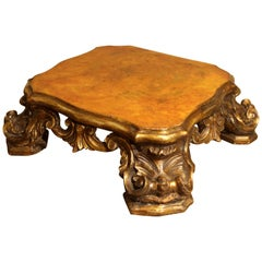 Italian Baroque Period Hand-Carved, Gilded and Lacquered Wooden Base or Stand