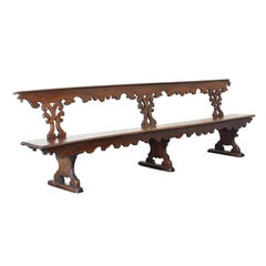 Italian Baroque Period Monumental Walnut Bench, Mid-17th Century