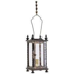 Italian Baroque Revival Ebonized Walnut Hanging Footed Lanern, Mid-19th Century