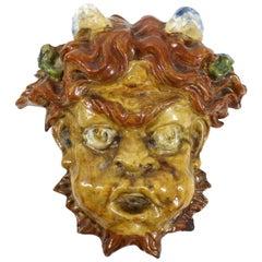 Italian Baroque Revival Glazed Terracotta Puck Mask