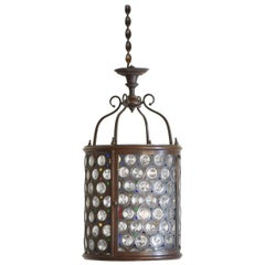 Italian Baroque Revival Period Patinated Brass & Colored & Leaded Glass Lantern