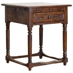 Italian Baroque Revival Walnut 1-Drawer Work Table, 1 Drawer, Slide, 19th Cen