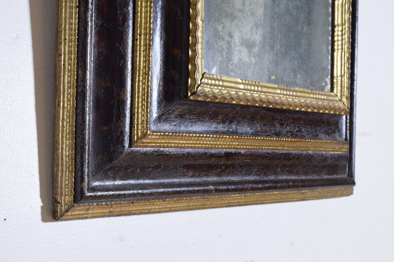 Italian Baroque Shaped & Faux Marble Painted & Carved Giltwood Mirror, 17th cen For Sale 2
