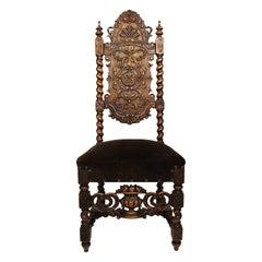 Italian Baroque Solomonic Style Walnut Carved Side Chair