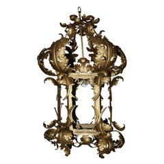 Italian Baroque Style 19th Century Tole Hanging Lantern