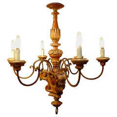 Italian Baroque Style 6 Arm and Red Lacquer & Silver Leaf Chandelier, circa 1860
