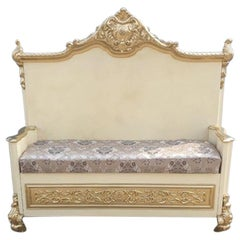 Italian Baroque Style Beautiful Ivory Cream Color Beechwood Bench, 1960s