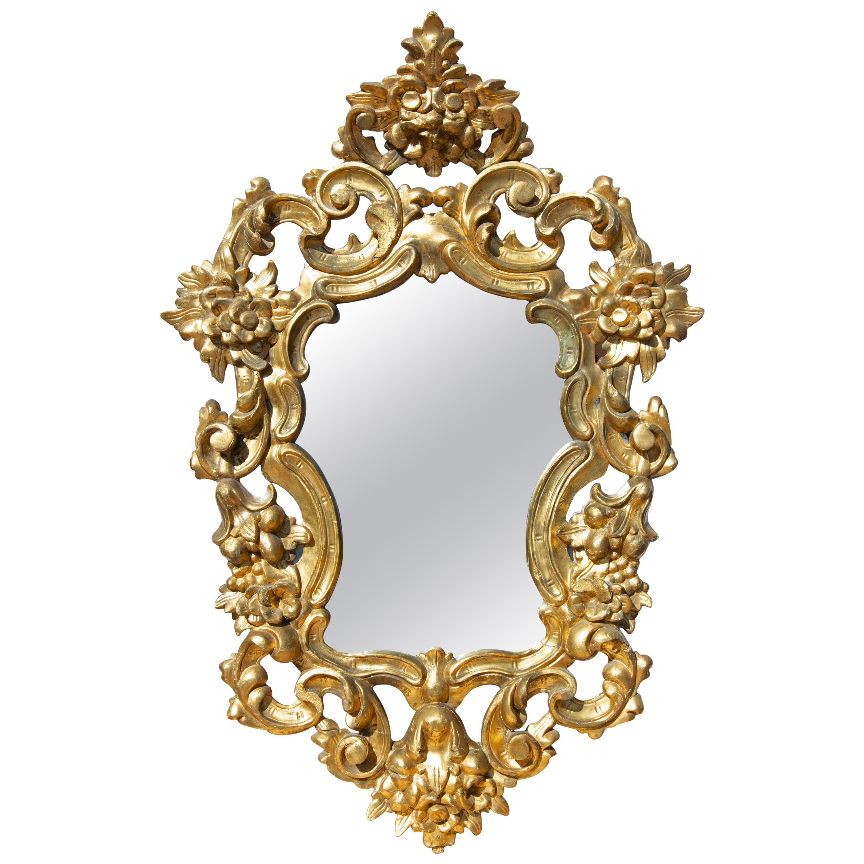 Italian Baroque Style Carved Gilt Mirror, 19th Century