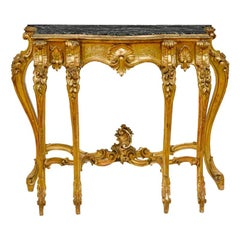 Italian Baroque Style Carved Giltwood Console, 19th Century