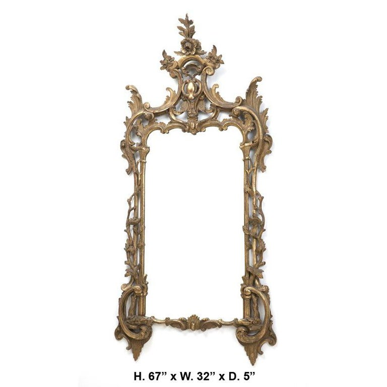 19th century Italian Baroque style carved giltwood mirror. 