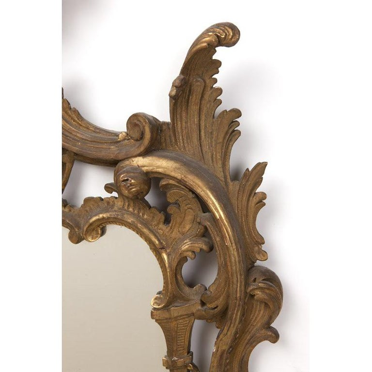 Italian Baroque Style Carved Giltwood Mirror, 19th Century For Sale 1