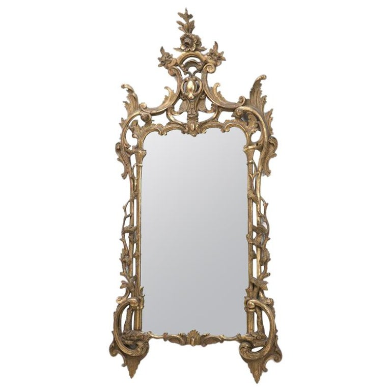 Italian Baroque Style Carved Giltwood Mirror, 19th Century For Sale