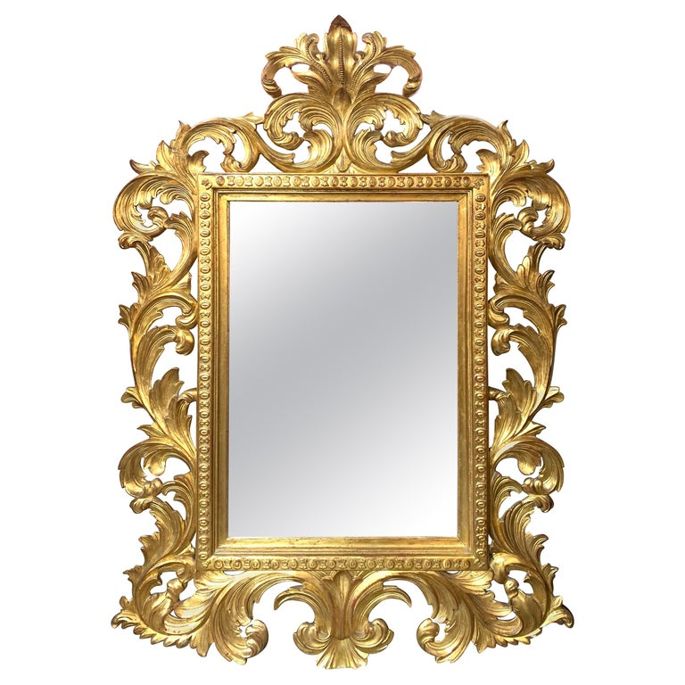 Italian Baroque Style Carved Gold Gilt, Baroque Style Gold Mirror