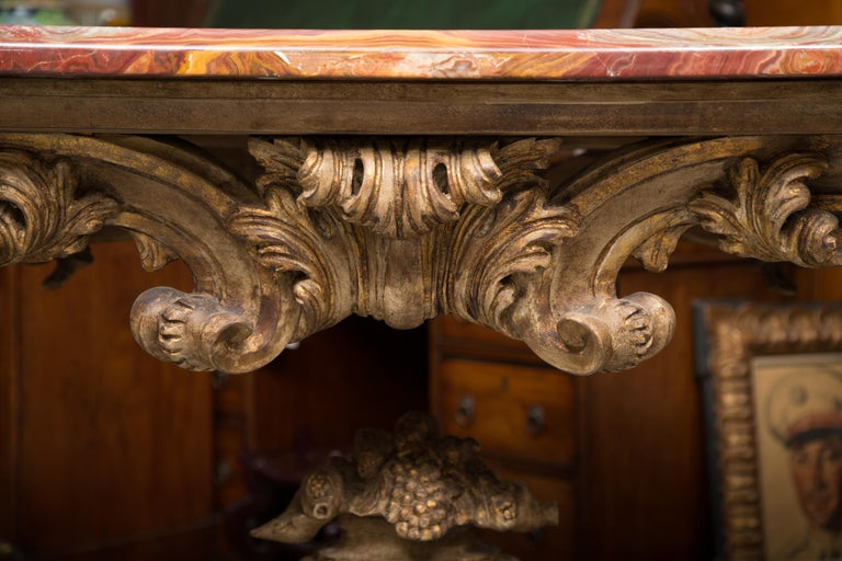 Italian Baroque Style Console Table with Onyx Top For Sale 6