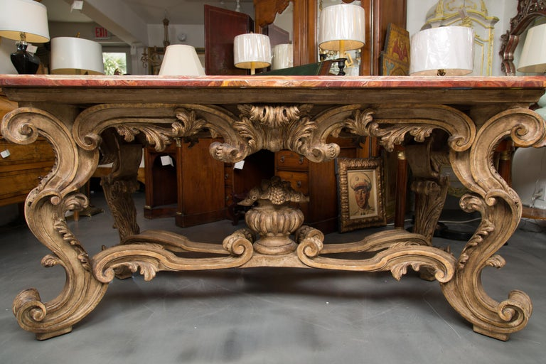 Italian Baroque Style Console Table with Onyx Top For Sale 7