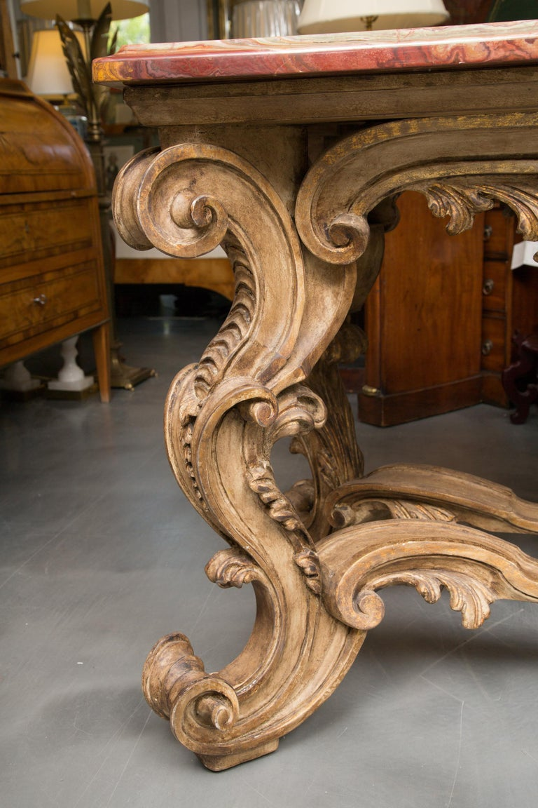Italian Baroque Style Console Table with Onyx Top For Sale 10
