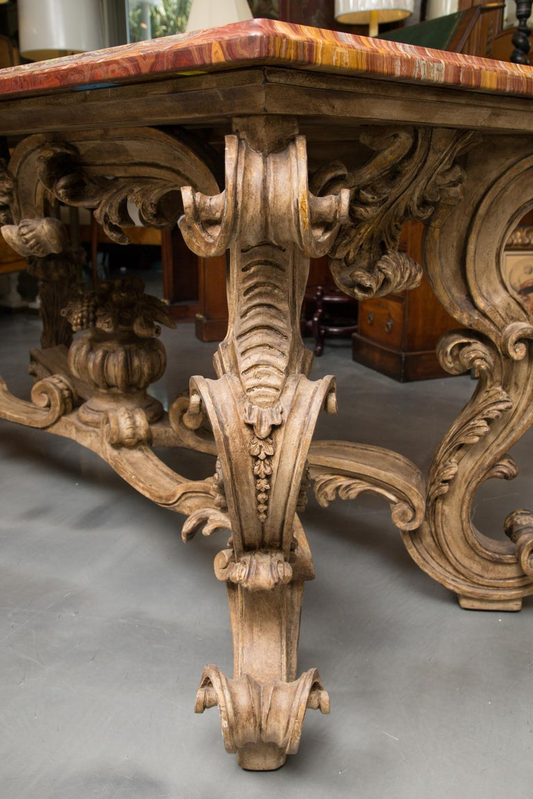 Italian Baroque Style Console Table with Onyx Top In Good Condition For Sale In WEST PALM BEACH, FL