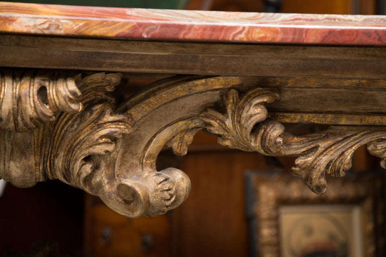 Italian Baroque Style Console Table with Onyx Top For Sale 4