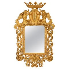 Italian Baroque Style Early 19th Century Richly Carved Giltwood Mirror