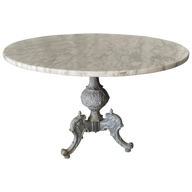 Italian Baroque Style Gilt Metal Pedestal Round Marble-Top Table For Sale