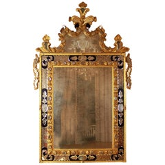 Italian Baroque Style Giltwood Blue and Engraved Glass Mirror