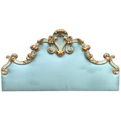 Italian Baroque Style Giltwood Headboard 20th Century with Turquoise Upholstery