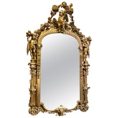 Italian Baroque Style Giltwood Mirror, 19th Century