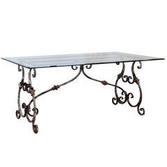 Italian Baroque Style Hand-Forged Iron Table Base with New Custom-Made Glass Top