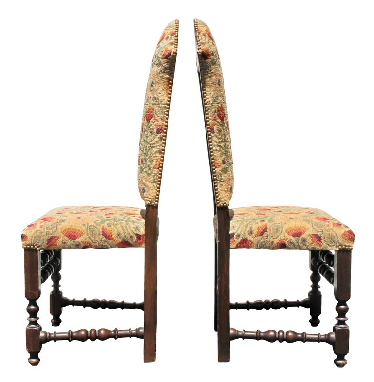Italian Baroque Style Oak Side Chairs For Sale 1
