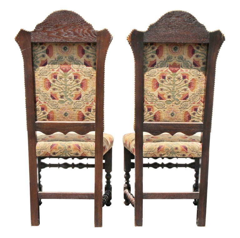 Italian Baroque Style Oak Side Chairs For Sale 2
