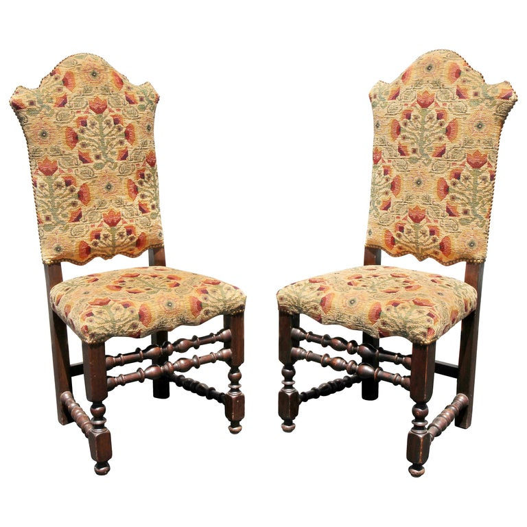 Italian Baroque Style Oak Side Chairs For Sale