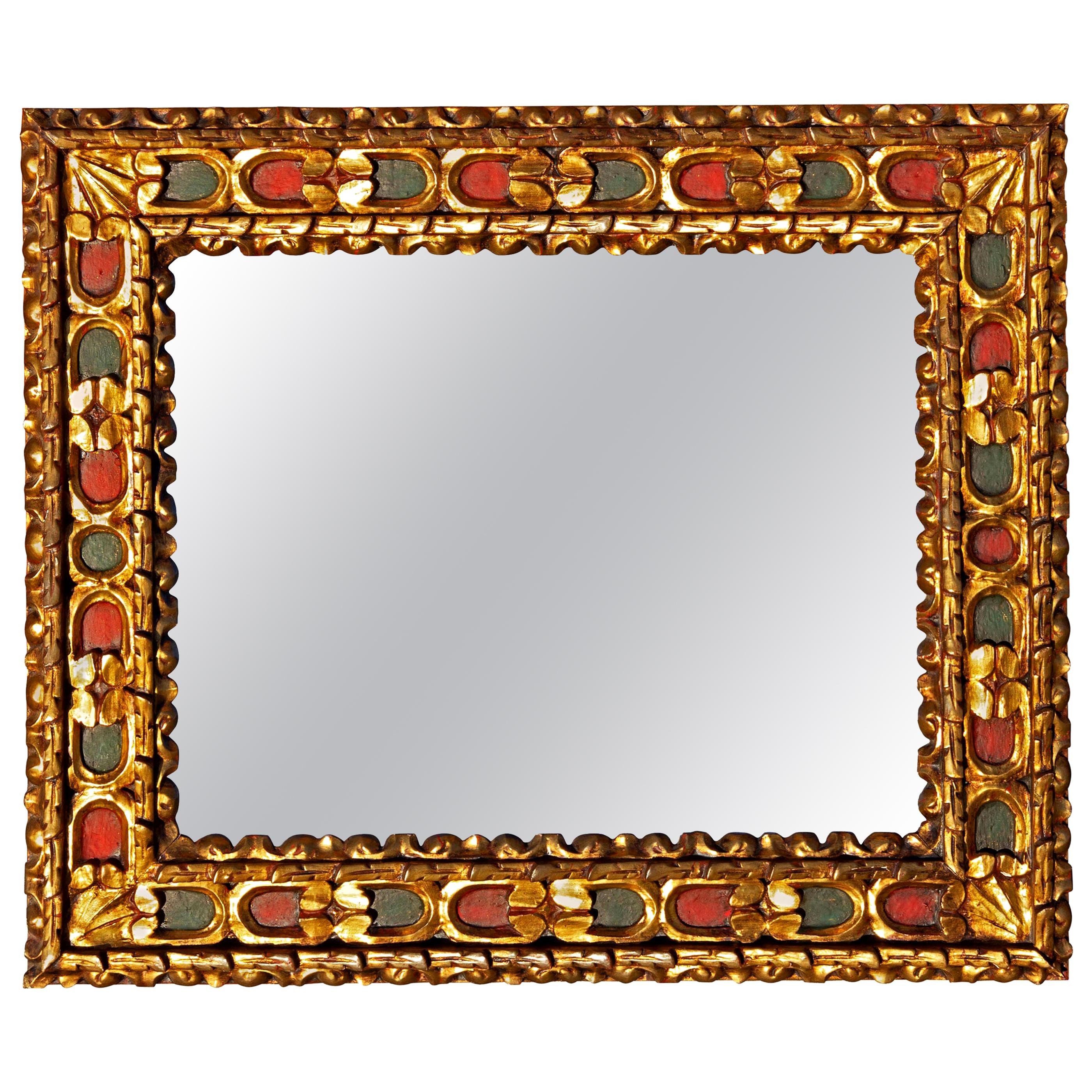 Italian Baroque Style Painted and Parcel-Gilt Wall Mirror