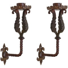 Italian Baroque Style Pair of Wrought Iron and Painted Sconces, Mid-19th Century