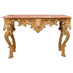 Italian Baroque Style Parcel-Gilt Carved Console Table