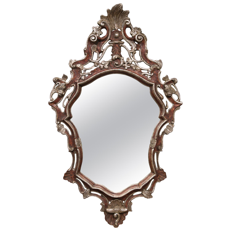 Italian Baroque Style Parcel Silver Gilt Wall Mirror