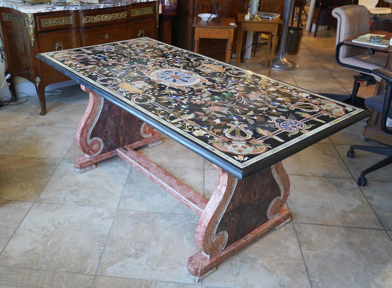 Italian Baroque Style Pietra Dura Dining Table on Carved Marbleized Pedestals For Sale 5