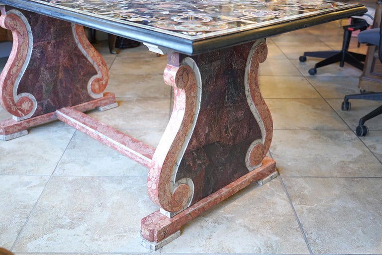 Italian Baroque Style Pietra Dura Dining Table on Carved Marbleized Pedestals For Sale 6