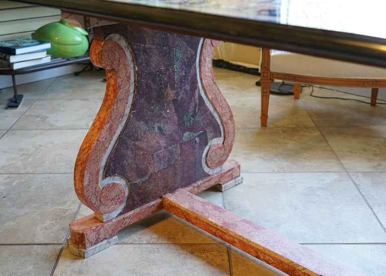 Italian Baroque Style Pietra Dura Dining Table on Carved Marbleized Pedestals For Sale 7