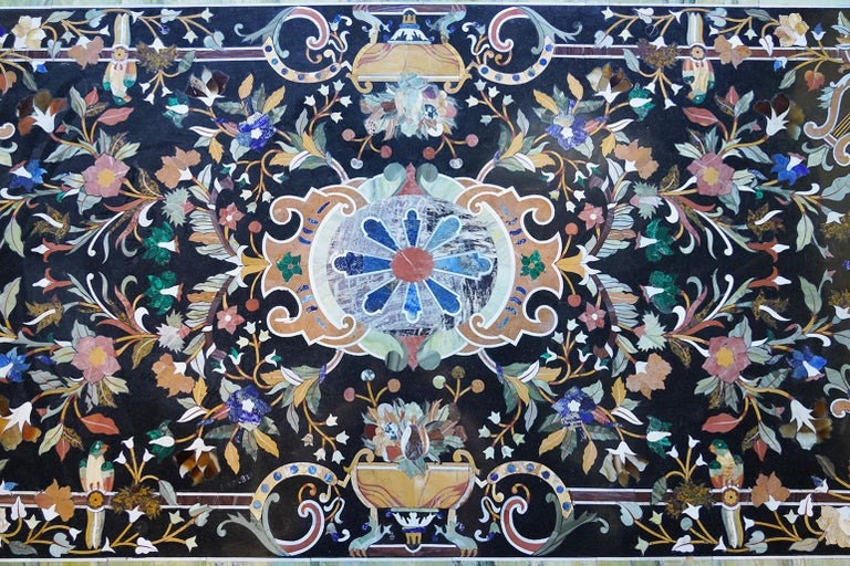 Italian Baroque Style Pietra Dura Dining Table on Carved Marbleized Pedestals In Good Condition For Sale In Ft. Lauderdale, FL