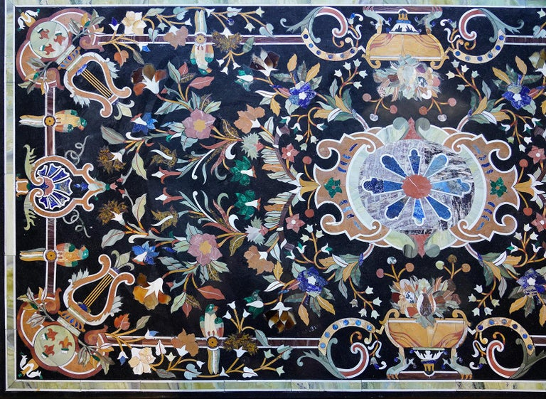20th Century Italian Baroque Style Pietra Dura Dining Table on Carved Marbleized Pedestals For Sale