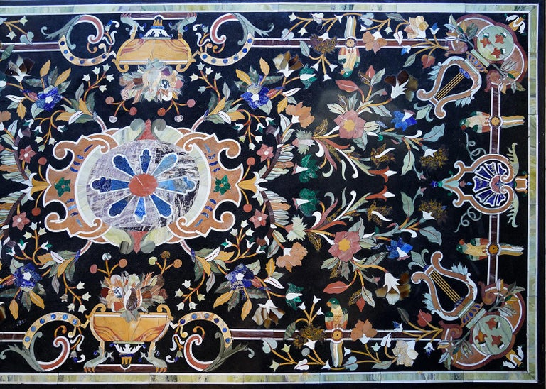 Precious Stone Italian Baroque Style Pietra Dura Dining Table on Carved Marbleized Pedestals For Sale