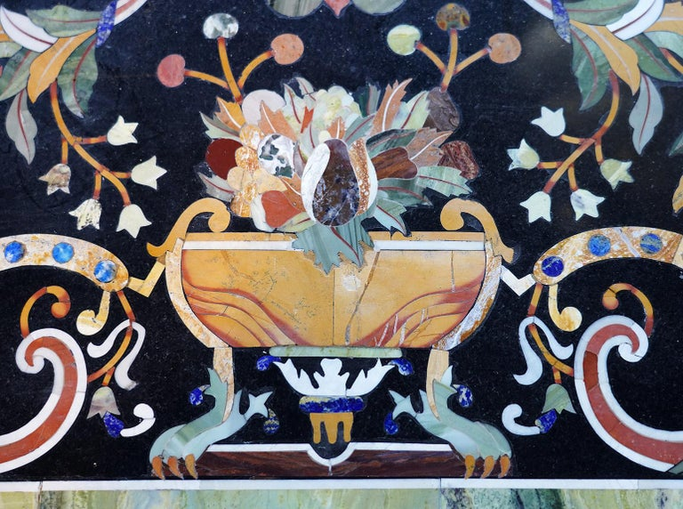 Italian Baroque Style Pietra Dura Dining Table on Carved Marbleized Pedestals For Sale 2