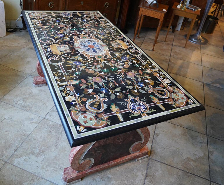Italian Baroque Style Pietra Dura Dining Table on Carved Marbleized Pedestals For Sale 4