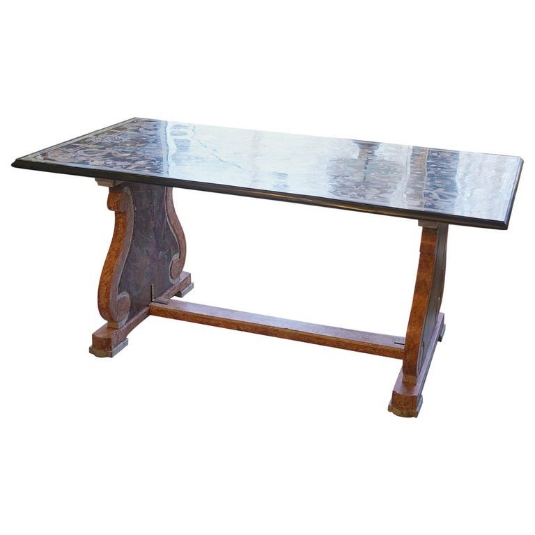 Italian Baroque Style Pietra Dura Dining Table on Carved Marbleized Pedestals For Sale