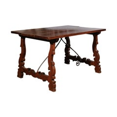 Italian Baroque Style Walnut Fratino Table with Lyre Base and Iron Stretchers