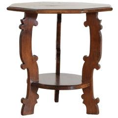 Italian Baroque Style Walnut Octagonal Table, Mid-19th Century